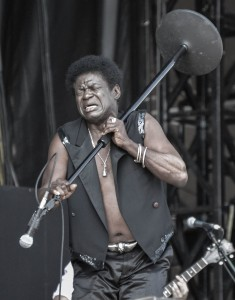 Charles Bradley lifts the microphone during his set at Lockn' Music Festival. Andrew DaRosa/The Mirror