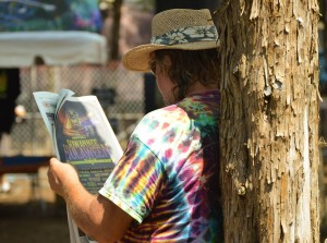 One of the attendees of Lockn' Music Festival reads his paper. Andrew DaRosa/The Mirror