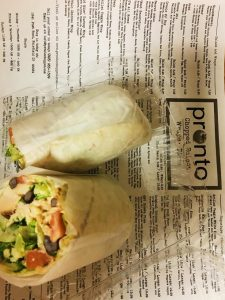 The SouthWestern wrap from Pronto Chop Shop and Pizzeria.